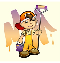 young painter with roller vector image