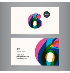 business card with number 6 vector image vector image