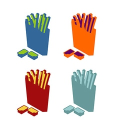 French fries flat sign Icon fast food Multicolored vector image