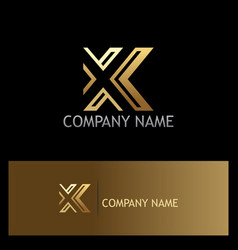 gold letter x company logo vector image
