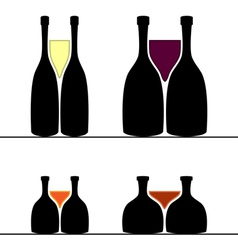 Set of alcohol bottles and glasses vector image