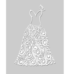 white dress with floral elements on a grey vector image