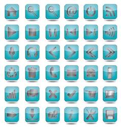 blue web icons set vector image