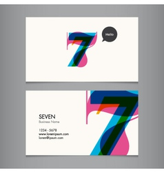 business card with number 7 vector image vector image
