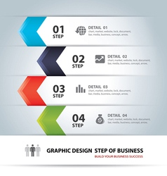 business step paper chart and numb vector image vector image