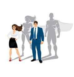 Businessman and business woman office superheroes vector image vector image
