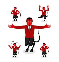 Devil set of poses satan set of movements horned vector