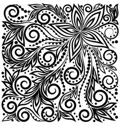 graphic curly background with flowers and leaves vector image