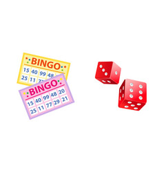 lottery symbols - bingo game cards and two dices vector image vector image