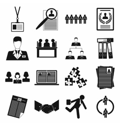 Office teamwork icons set simple style vector image vector image