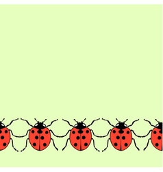 Seamless decorative border from flat ladybugs vector image vector image