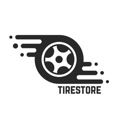 tire store with abstract tyre vector image