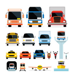 vehicles cars and transportation in front view vector image vector image