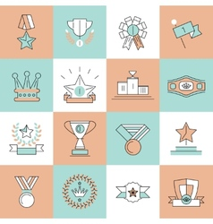 Award icons set flat line vector image