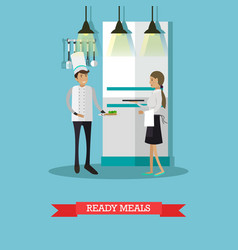 ready meals in flat style vector image vector image