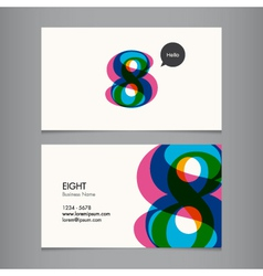 business card with number 8 vector image