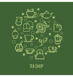 Green tea outline icons in circle design Trendy vector image