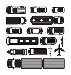 vehicles cars and transportation in top or above vector image vector image