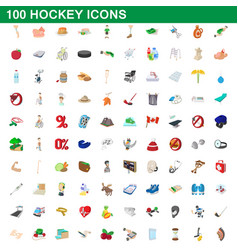 100 hockey icons set cartoon style vector