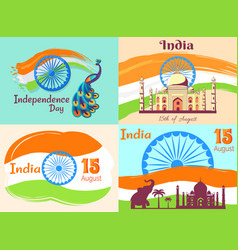 15 august independence day in india posters set vector image