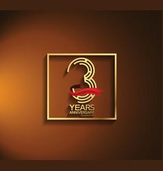 3 years anniversary logotype golden color vector