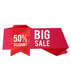 50 discount big sale red ribbon pink banner vector image