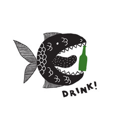 a fictional monster fish with an open mouth vector image