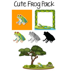 a pack of cute frog vector image