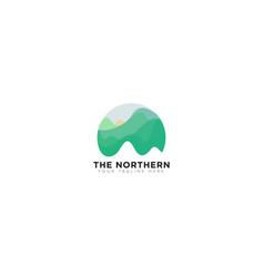 Abstract mountain northern lights logo design vector