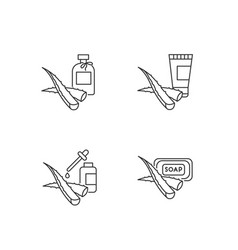 Aloe vera pixel perfect linear icons set oil and vector