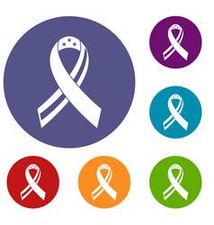 American ribbon icons set vector