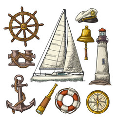 Anchor wheel sailing ship compass rose vector