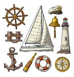 anchor wheel sailing ship compass rose vector image
