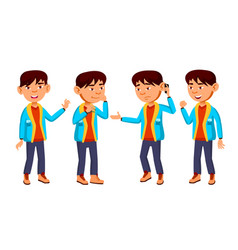 Asian boy schoolboy kid poses set primary vector