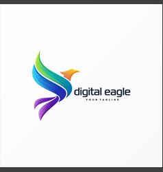 awesome digital eagle logo design vector image