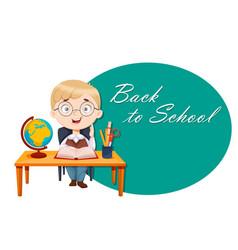 Back to school cute schoolboy sits at desk vector