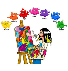 Basic colors educational worksheet with artist vector
