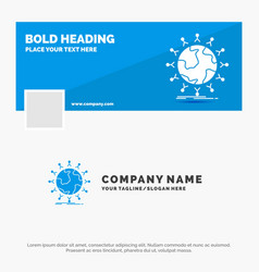 Blue business logo template for global student vector