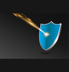 Blue shield reflects lightning strike security vector