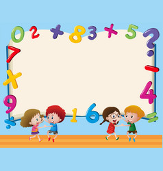 Border template with kids and numbers vector