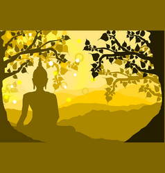 Buddha statue under the bodhi sacred fig tree vector