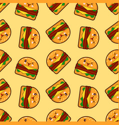 burger seamless pattern with cute fast vector image