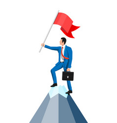Businessman standing on top mountain with flag vector