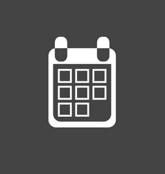 calendar icon on black background flat style vector image
