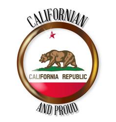 California proud flag button vector