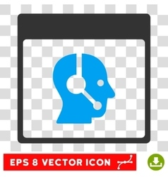 Call Center Operator Calendar Page Eps Icon vector