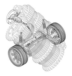 Car suspension and gear mechanism on a white vector