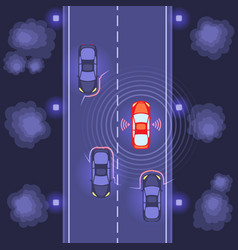 cars scaning on road vector image