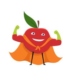 cartoon superhero character red apple vegetarian vector image