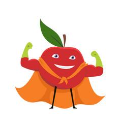 Cartoon superhero character red apple vegetarian vector